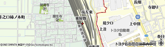 愛知県稲沢市井之口町(東屋敷)周辺の地図