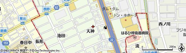 愛知県北名古屋市中之郷(天神)周辺の地図