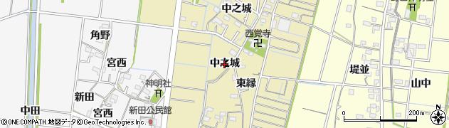 愛知県稲沢市祖父江町西鵜之本(中之城)周辺の地図