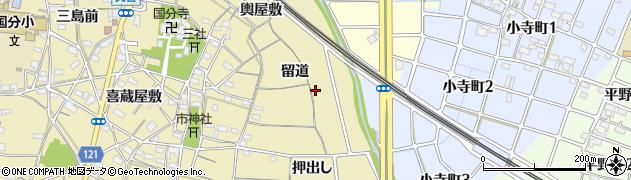 愛知県稲沢市矢合町(留道)周辺の地図