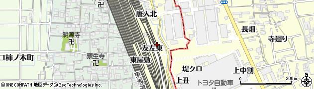 愛知県稲沢市井之口町(友左東)周辺の地図