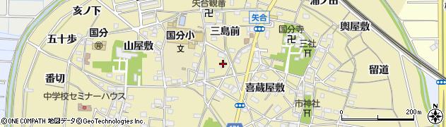 愛知県稲沢市矢合町(三島前)周辺の地図