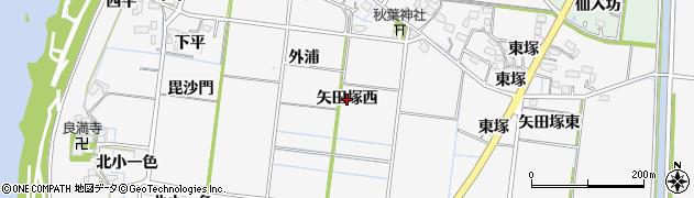 愛知県稲沢市祖父江町神明津(矢田塚西)周辺の地図