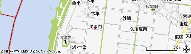 愛知県稲沢市祖父江町神明津(毘沙門)周辺の地図