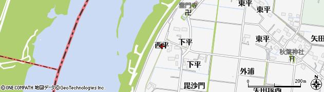 愛知県稲沢市祖父江町神明津(西平)周辺の地図