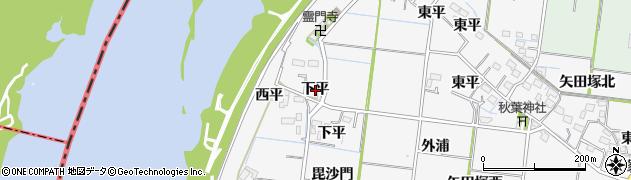 愛知県稲沢市祖父江町神明津(下平)周辺の地図