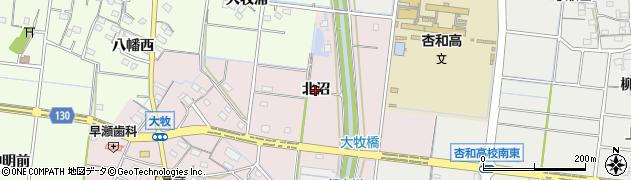 愛知県稲沢市祖父江町大牧(北沼)周辺の地図