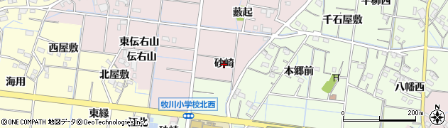 愛知県稲沢市祖父江町中牧(砂崎)周辺の地図