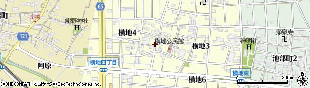 愛知県稲沢市横地周辺の地図
