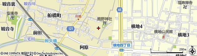 愛知県稲沢市船橋町(市場)周辺の地図