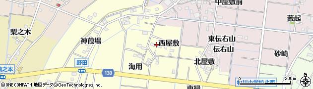 愛知県稲沢市祖父江町野田(西屋敷)周辺の地図