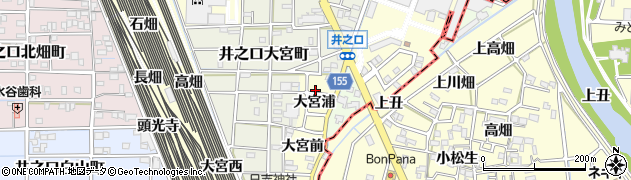 愛知県稲沢市井之口町(大宮浦)周辺の地図