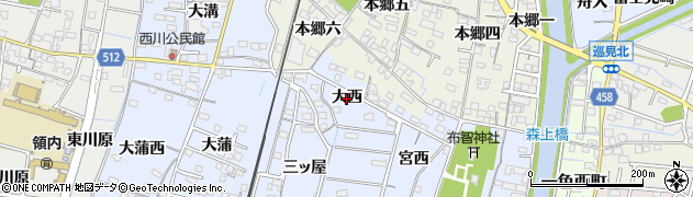 愛知県稲沢市祖父江町本甲(大西)周辺の地図