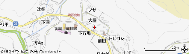 愛知県豊田市浅谷町(大屋)周辺の地図