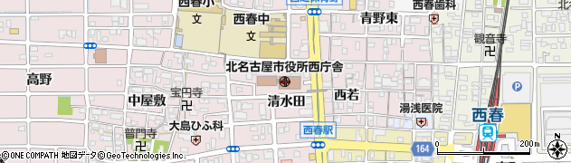 愛知県北名古屋市周辺の地図