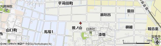愛知県稲沢市法花寺町(熊ノ山)周辺の地図