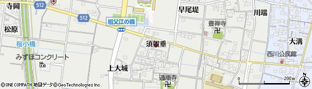愛知県稲沢市祖父江町二俣(須賀垂)周辺の地図