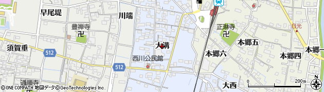 愛知県稲沢市祖父江町本甲(大溝)周辺の地図