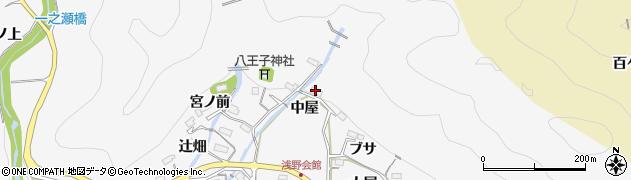 愛知県豊田市浅谷町(中屋)周辺の地図
