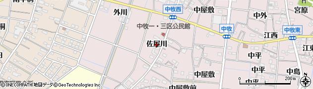 愛知県稲沢市祖父江町中牧(佐屋川)周辺の地図