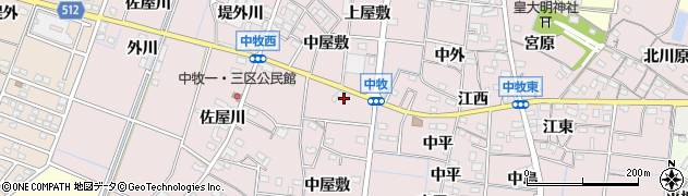 愛知県稲沢市祖父江町中牧(中屋敷)周辺の地図
