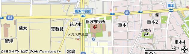 愛知県稲沢市周辺の地図