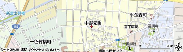愛知県稲沢市中野元町周辺の地図