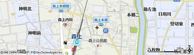 愛知県稲沢市祖父江町森上(本郷八)周辺の地図