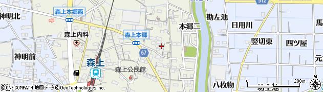愛知県稲沢市祖父江町森上(本郷三)周辺の地図