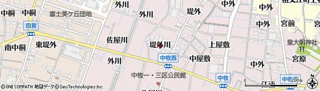 愛知県稲沢市祖父江町中牧(堤外川)周辺の地図