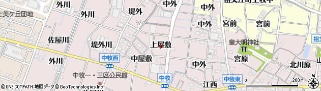 愛知県稲沢市祖父江町中牧(上屋敷)周辺の地図