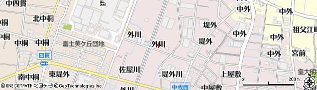 愛知県稲沢市祖父江町中牧(外川)周辺の地図