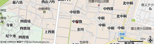 愛知県稲沢市祖父江町四貫(中屋敷)周辺の地図