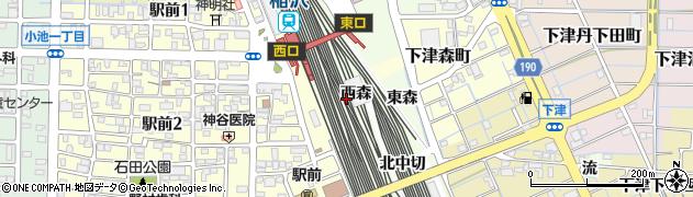 愛知県稲沢市下津町(西森)周辺の地図