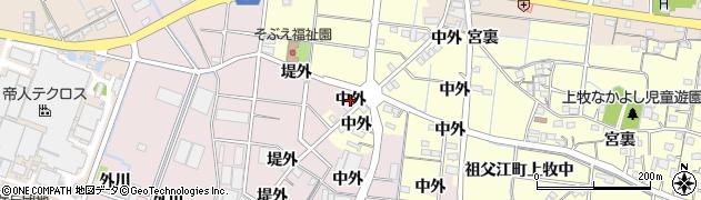 愛知県稲沢市祖父江町上牧(中外)周辺の地図