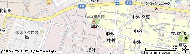 愛知県稲沢市祖父江町上牧(堤外)周辺の地図