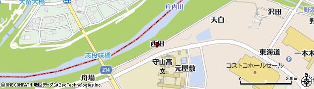 愛知県名古屋市守山区中志段味(西田)周辺の地図