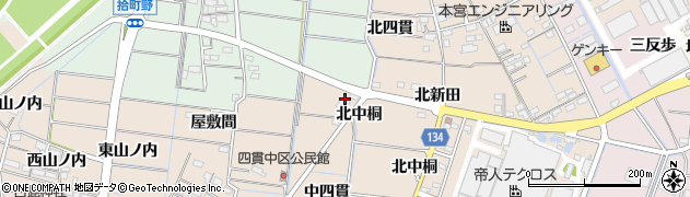 愛知県稲沢市祖父江町四貫(北道野)周辺の地図