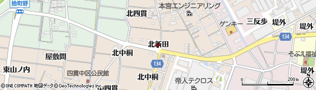 愛知県稲沢市祖父江町四貫(北新田)周辺の地図