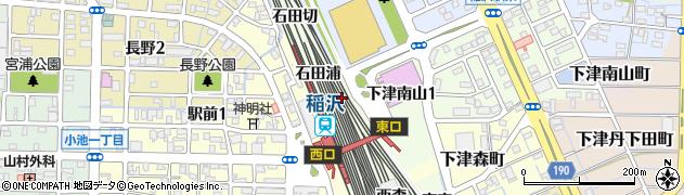 愛知県稲沢市下津町(東石田)周辺の地図