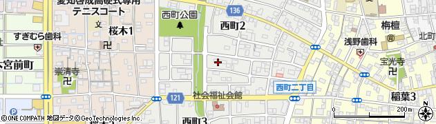 愛知県稲沢市西町周辺の地図