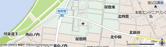愛知県稲沢市祖父江町拾町野(屋敷間)周辺の地図