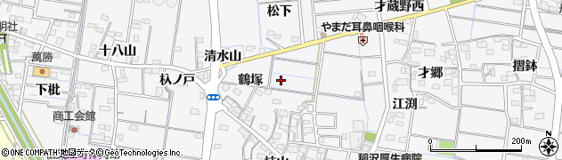 愛知県稲沢市祖父江町山崎(鶴塚)周辺の地図