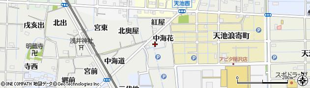 愛知県稲沢市浅井町(中海花)周辺の地図