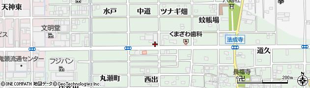 愛知県北名古屋市法成寺(中道)周辺の地図