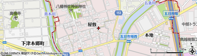 愛知県一宮市丹陽町五日市場周辺の地図