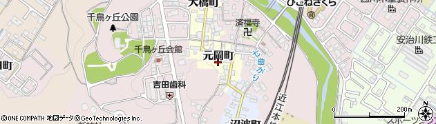 滋賀県彦根市元岡町周辺の地図