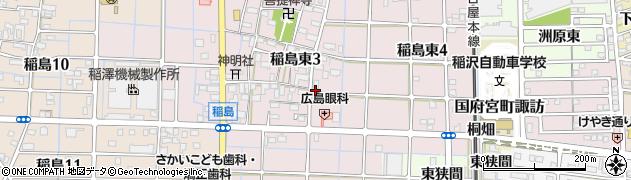 愛知県稲沢市稲島東周辺の地図