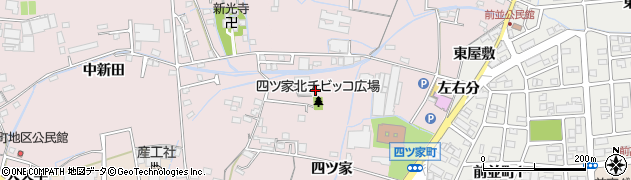 愛知県春日井市四ツ家町周辺の地図