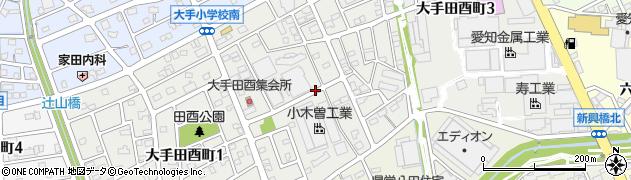 愛知県春日井市大手田酉町周辺の地図